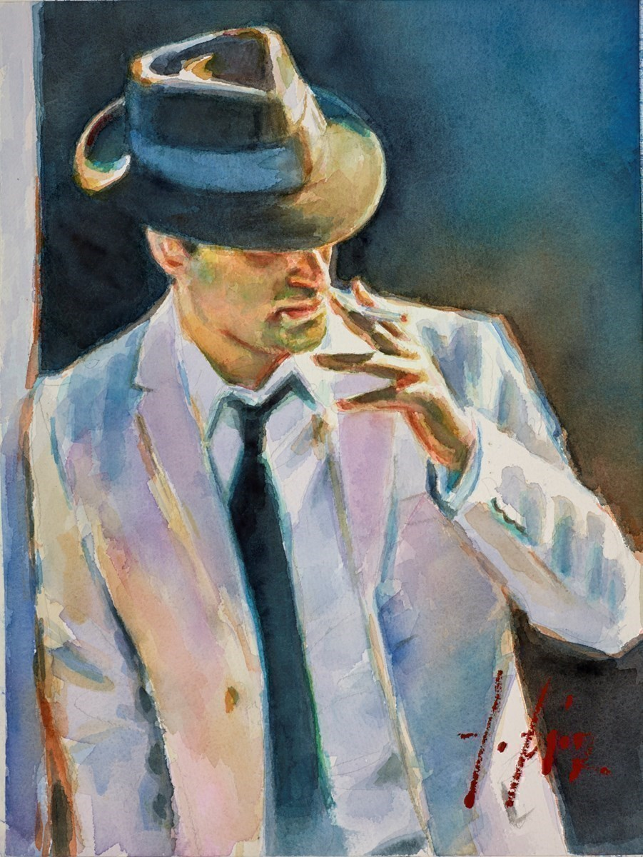 Marcus with Hat (Watercolour) by Fabian Perez -  sized 12x16 inches. Available from Whitewall Galleries